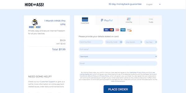 betalningssidan Hidemyass VPN